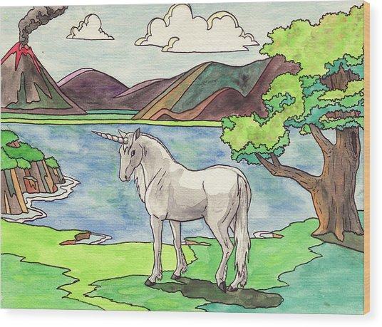 Prehistoric Unicorn Wood Print