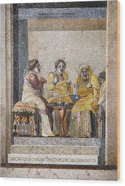 Preparing A Love Potion, Roman Mosaic Wood Print by Sheila Terry