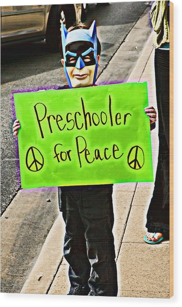 Preschooler For Peace Wood Print by David Thompson