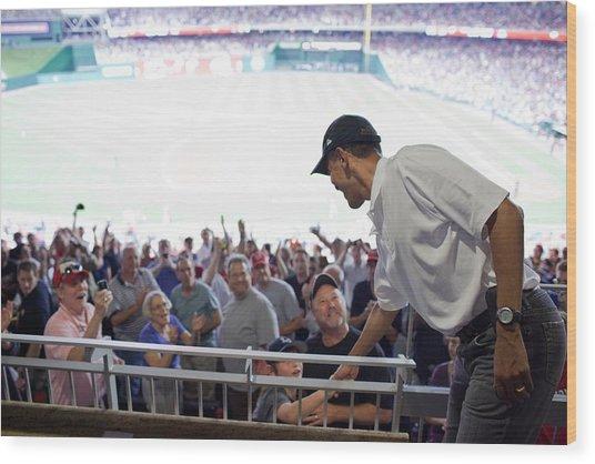 President Barack Obama Greets Baseball Wood Print by Everett