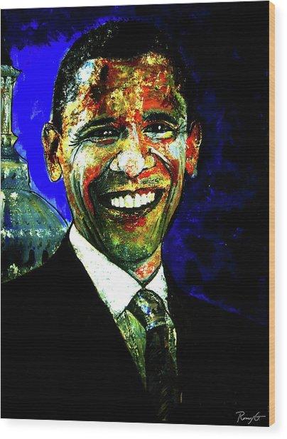 President Barack Obama Wood Print by Romy Galicia
