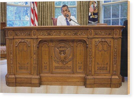 President Barack Obama Sits Wood Print by Everett