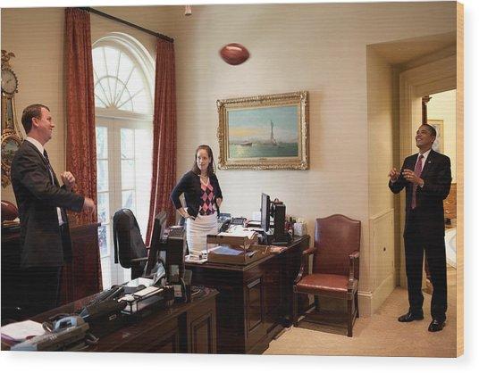 President Barack Obama Tosses Wood Print by Everett