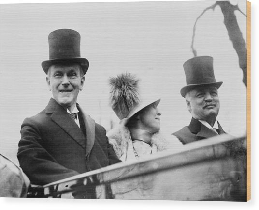 President Calvin Coolidge With His Wife And Senator Curtis On The Way To Capitol - C 1925 Wood Print