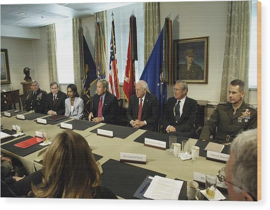 President George W. Bush And Members Wood Print by Everett