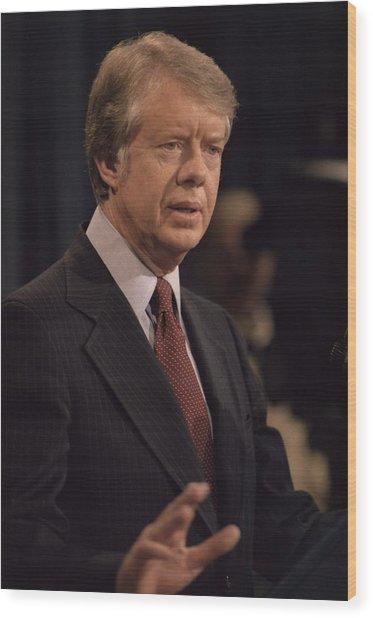 President Jimmy Carter Speaking Wood Print by Everett