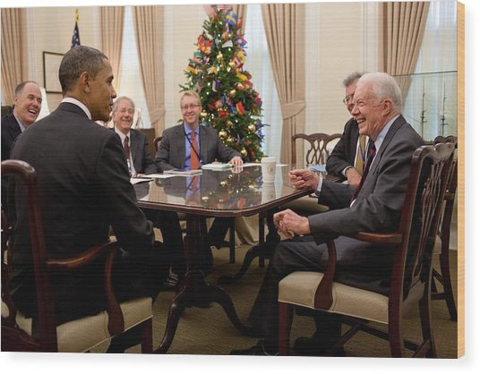 President Obama Talks With Former Wood Print by Everett