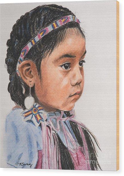 Pretty Native American Girl Wood Print