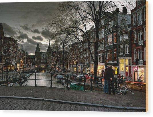 Prinsengracht And Spiegelgracht. Amsterdam Wood Print