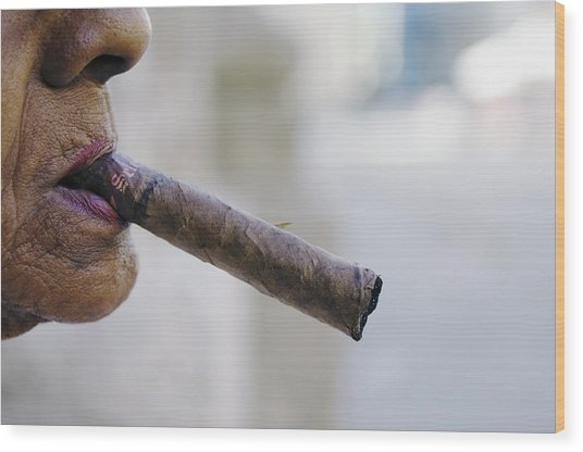 Profile Of Cuban Woman Smoking Cigar In Vieja District Wood Print by Christian Aslund