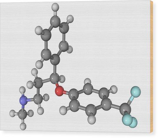 Prozac Antidepressant Molecule Wood Print by Laguna Design