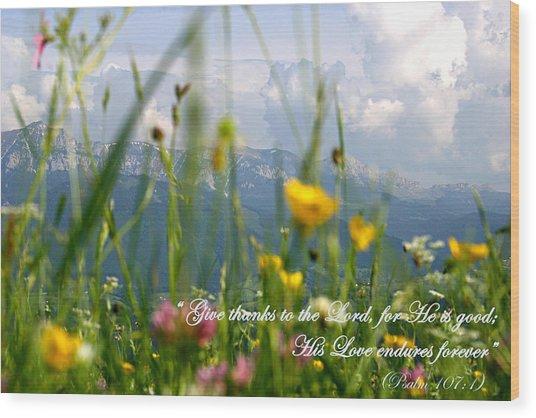 Psalm 107 1 Wood Print