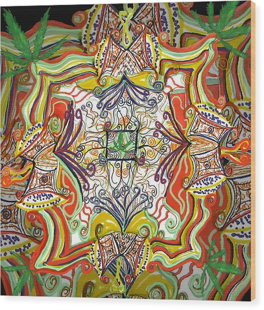 Psychedelic Art - The Jester's Cap Wood Print