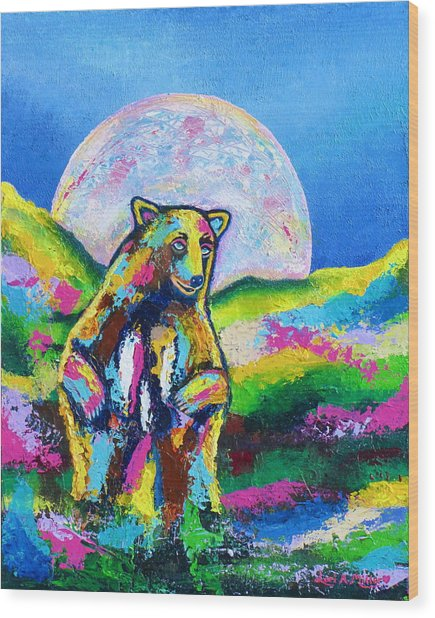 Psychedelic Bear Wood Print