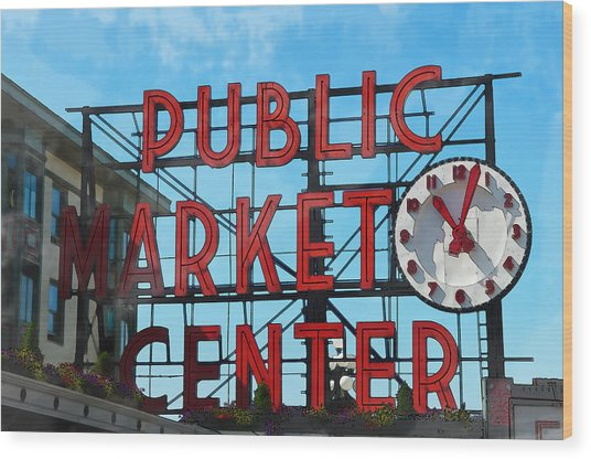 Public Market Center In Seattle Washington Wood Print