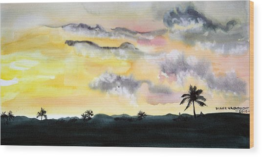 Puerto Rico Sunset Wood Print by Diane Vasarkovy