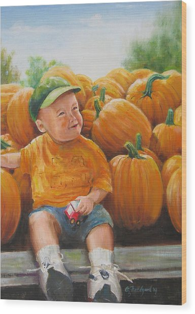 Pumkin Boy Wood Print