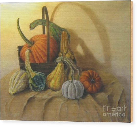 Pumpkin In A Basket Wood Print