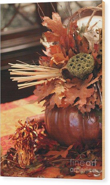 Pumpkin Leaf Decor Wood Print