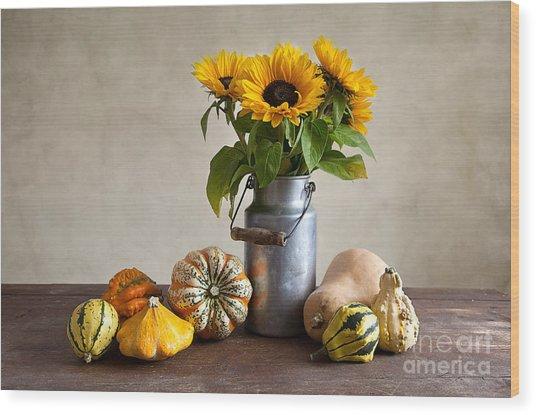 Pumpkins And Sunflowers Wood Print