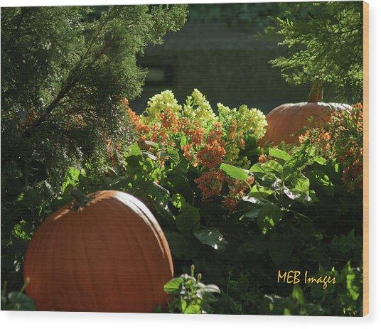 Pumpkins In Autumn Wood Print