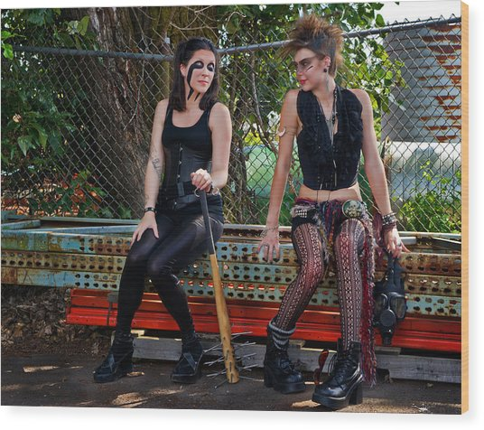 Punk Women Wood Print by Jim Boardman