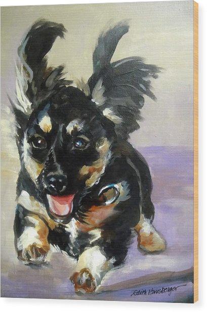 Puppy Joy Wood Print