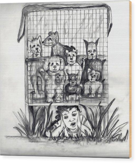 Puppy Mill Discovered Wood Print by Carol Allen Anfinsen