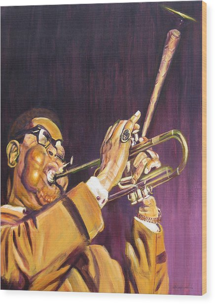 Purple And Gold Dizzy Gillespie Wood Print