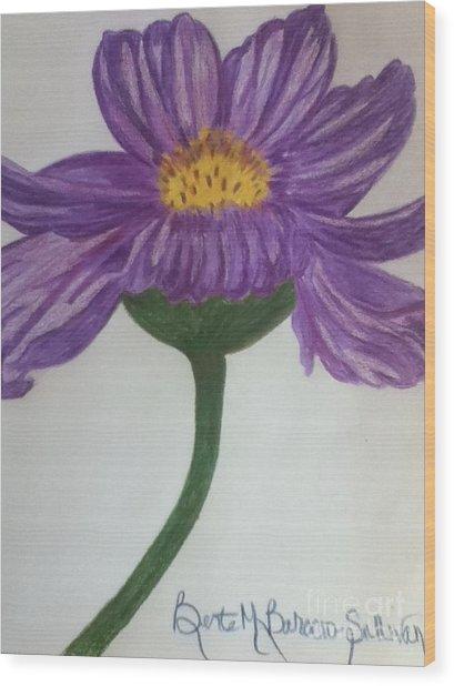 Purple Cosmo Wood Print by Berta Barocio-Sullivan