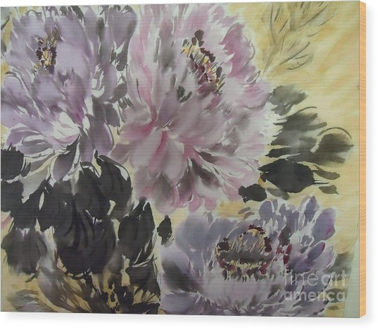 Purple Dark Peony Wood Print