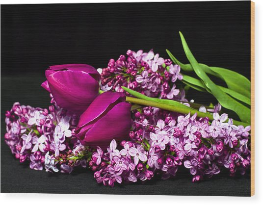 Purple Flowers Wood Print by Trudy Wilkerson