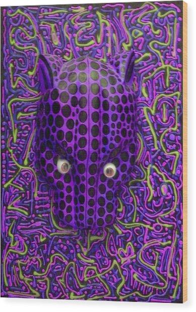 Purple Jaguar Head Wood Print