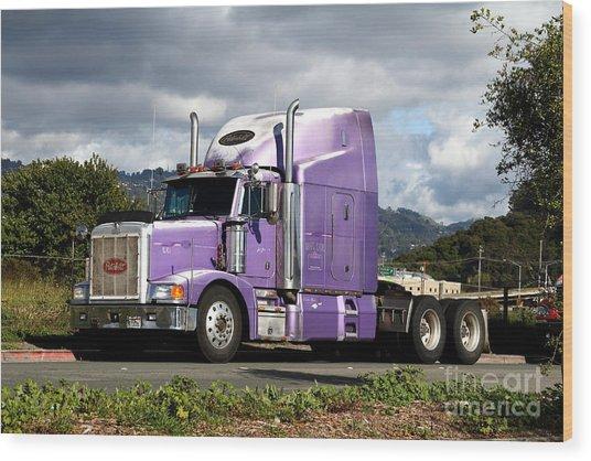 Purple Peterbilt Big Rig Truck . 7d15085 Wood Print