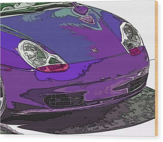 Purple Porsche Nose 2 Wood Print by Samuel Sheats