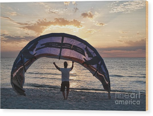 Putting Away The Kite At Clam Pass At Naples Florida Wood Print