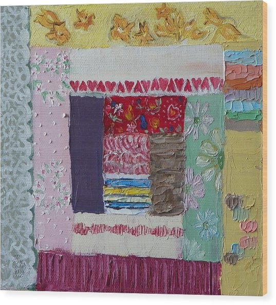 Q Is For Quilt Detail From Childhood Quilt Painting Wood Print