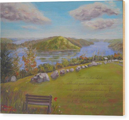 Quabbin Reservoir With Verse Wood Print