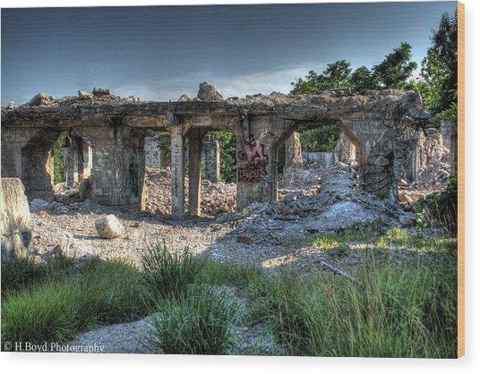Quarry Ruins Wood Print by Heather  Boyd