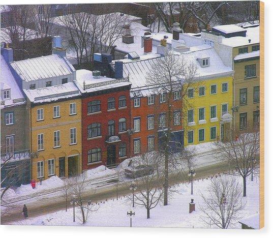 Quebec Streetscene Wood Print