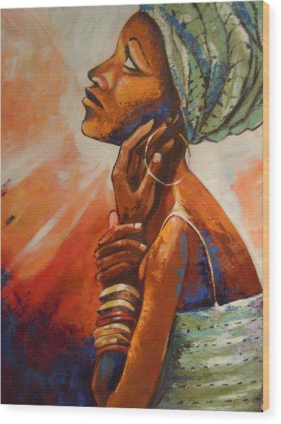 Queen Wood Print by Michael Echekoba