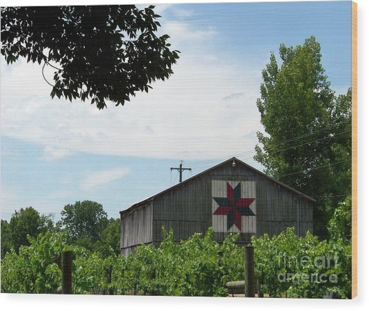 Quilted Barn And Vineyard Wood Print
