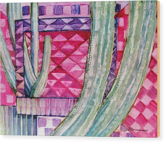 Quilted Sunset Wood Print by Regina Ammerman