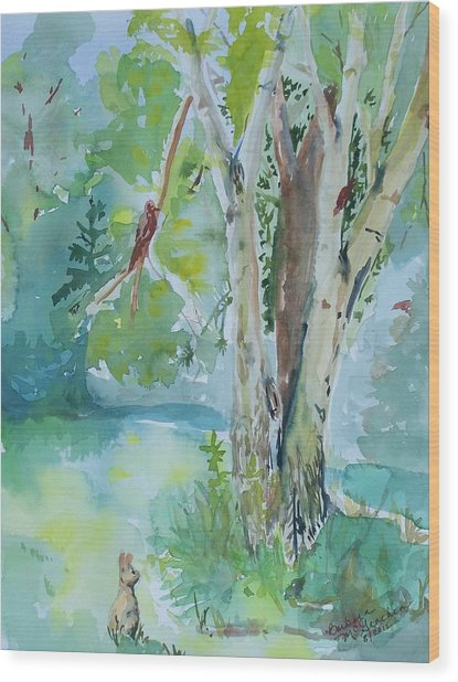 Rabbit And Maple Wood Print