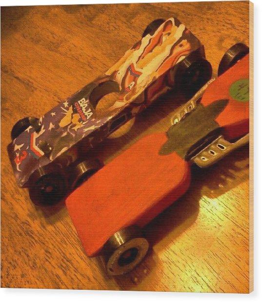 Racing Wood Print