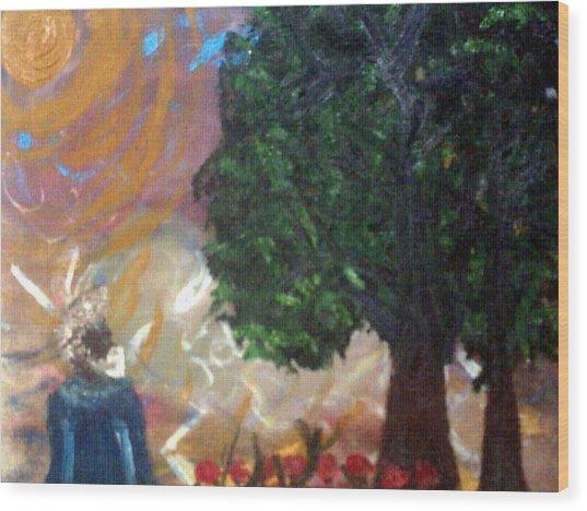 Rage In Heaven Wood Print by Violette Meier