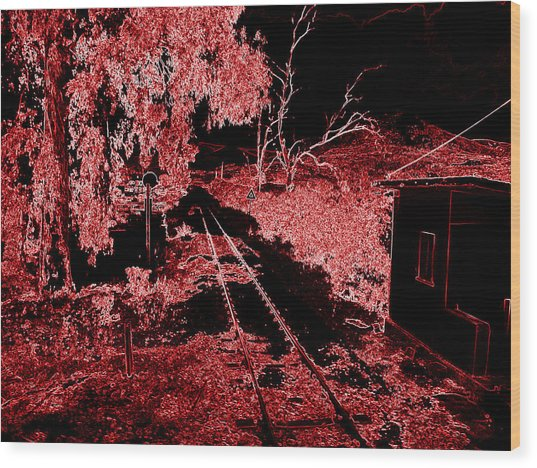 Railroad Crossing Glowing At Night In Red Black Neon Look On The Way From Mycenae To Olympia Greece Wood Print by John Shiron