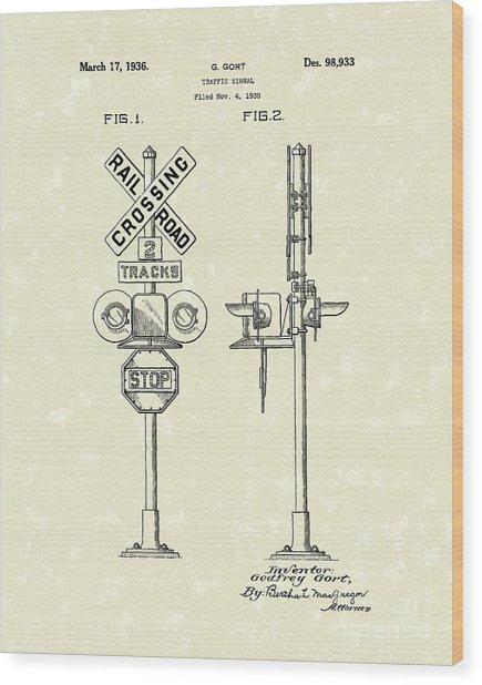 Railroad Traffic Signal 1936 Patent Art Wood Print by Prior Art Design