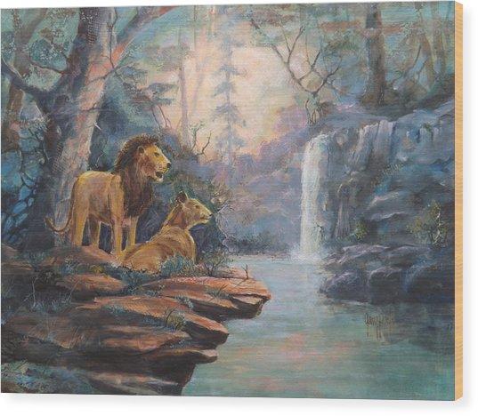 Rain Forest Waterfall Wood Print