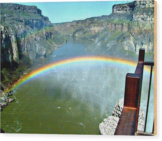Rainbow At Shoshone Falls Id Wood Print